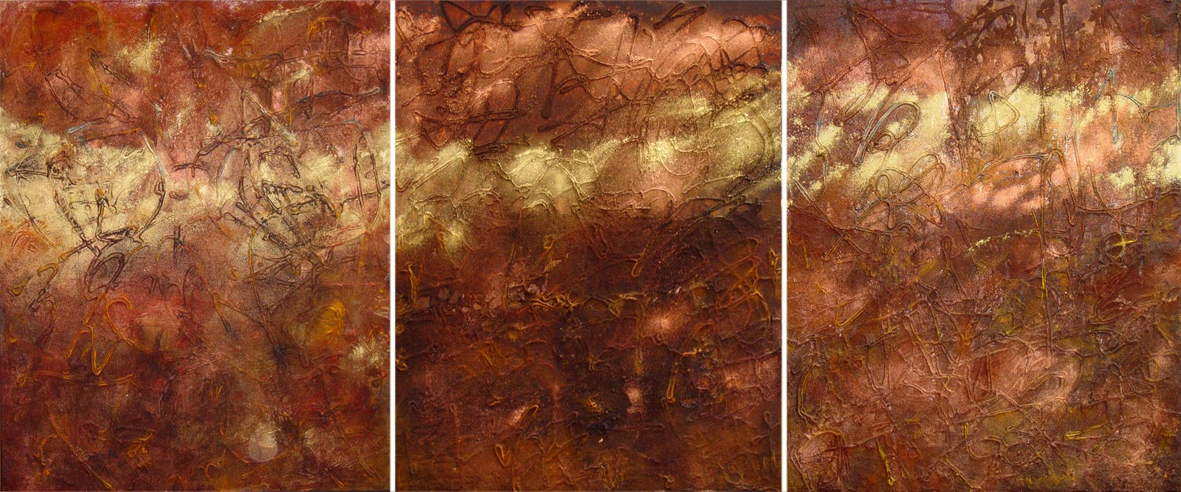 "Crossing Triptych (24"" x 30"" each, mixed media & oil on canvas, 2004)"