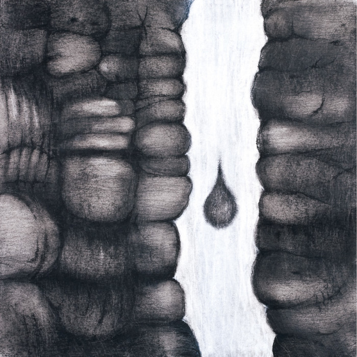 "Drop (graphite, charcoal, pencil & chalk on paper, 15"" x 15"", 2009)"