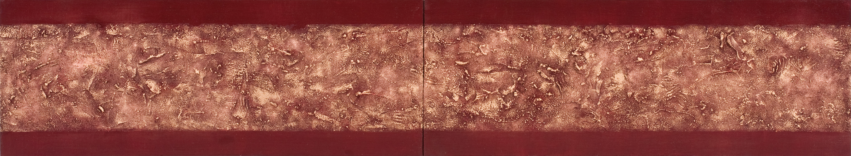 Sutra (diptych), (oil & mixed media on canvas, 30.48 x 81.28cm each, 2013)