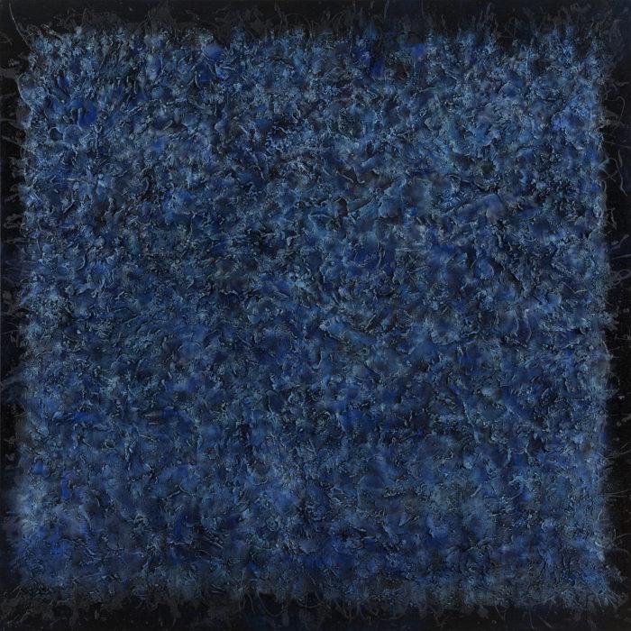 Vibration in Indigo 1 (共振 靛 I / 2017) Oil & Mixed Media on Canvas, 152.5cm x 152.5cm