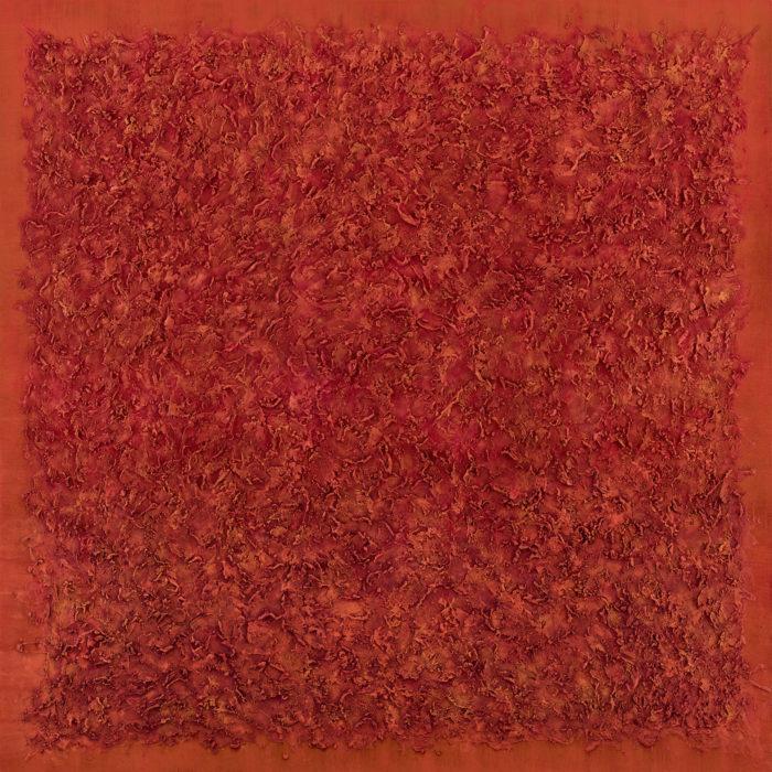 Vibration in Orange 1 (共振 橘 I / 2017) Oil & Mixed Media on Canvas, 152.5cm x 152.5cm